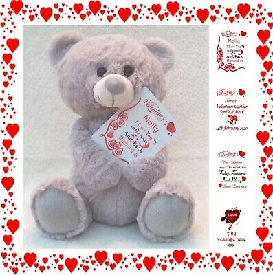 Personalised Valentine's Day Teddy Bear With Printed Wallet Card Valentines
