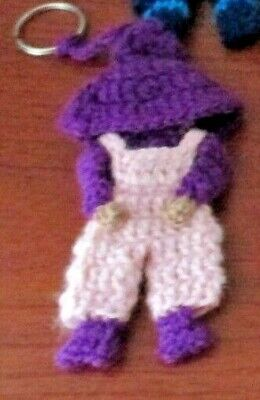 Hand Crocheted AMISH BOY KEY RING~Purple Hat~Brand New