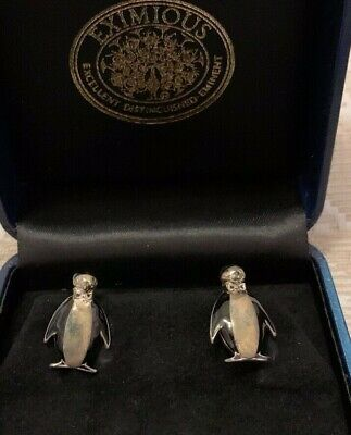 PENGUIN! RARE Vintage Eximious Sterling Cuff Links (London)