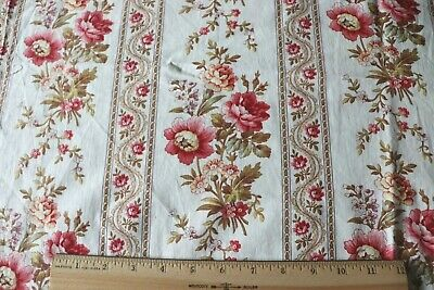 "Beautiful Antique French 19thC Home Dec Rose Floral Stripe Cotton Fabric~65""X32"""