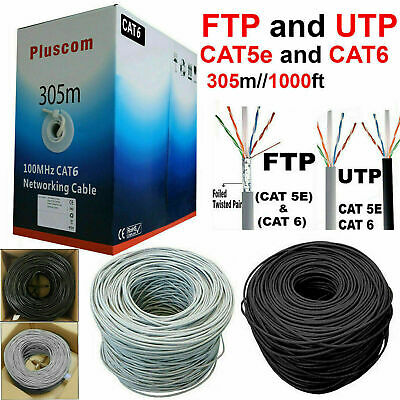 305M RJ45 Cat6 Cat5e Network Ethernet FTP & UTP OUTDOOR Roll Reel Cable Modem UK