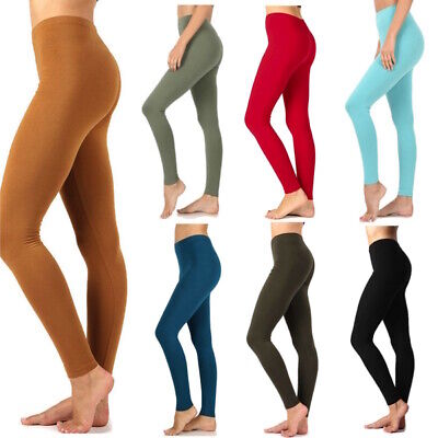 Womens Plus Size Full Ankle Length Long Leggings Basic Cotton Stretch Pants