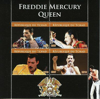 Chad Music Stamps 2019 CTO Freddie Mercury Queen Celebrities 4v M/S