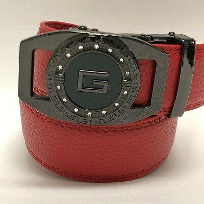 Men's Comfort Red Leather Ratchet Dress Belt with Automatic Click Round Buckle