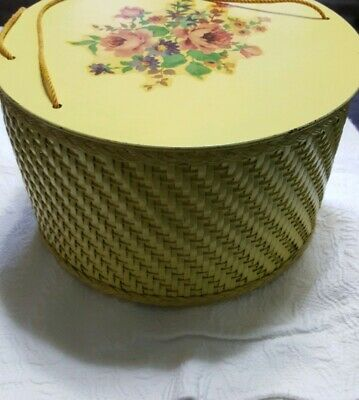 Vintage 50's Yellow Wicker Floral Sewing Box, Princess Algonquin Illinois EUC