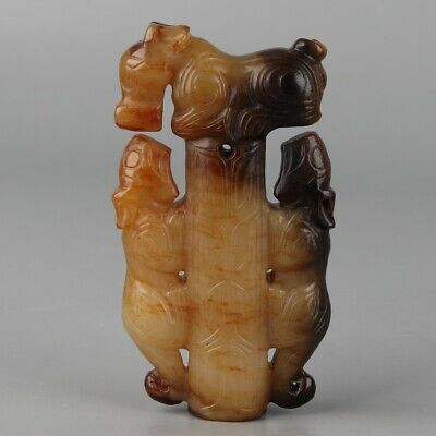 Chinese Exquisite Hand-carved beast Carving Hetian jade Pendant
