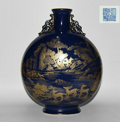 Chinese Exquisite Handmade porcelain landscape animal vase