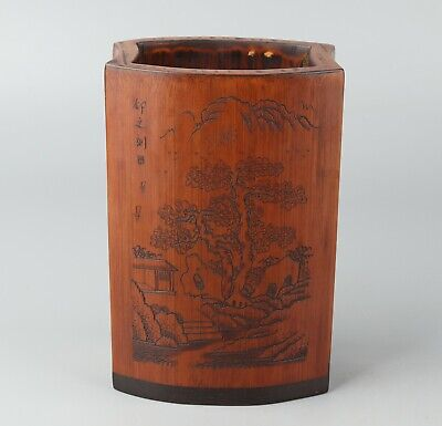 Chinese Exquisite Handmade landscape Carving bamboo Brush pot
