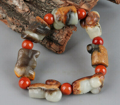 Chinese Exquisite Hand-carved beast Carving Hetian jade Bracelet