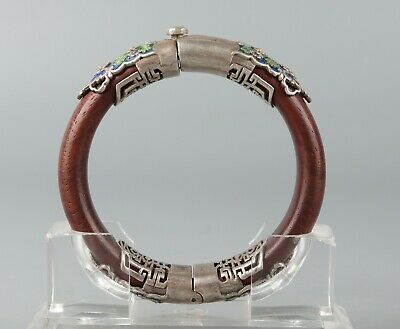 Chinese Exquisite Handmade wood Inlay silver bracelet