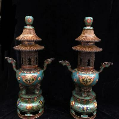 Chinese Exquisite Handmade Dragon copper Cloisonne incense burne