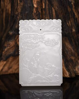 Chinese Exquisite Hand-carved character Carving Hetian jade Pendant