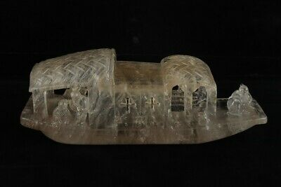 Chinese Exquisite Handmade character boat crystal statue