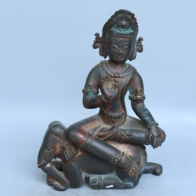 Chinese Exquisite Handmade Luohan Elephant copper Gilt statue