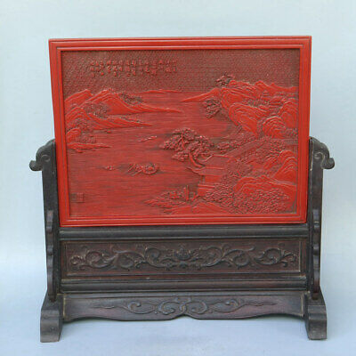 Chinese Exquisite Handmade landscape wood lacquerware screen