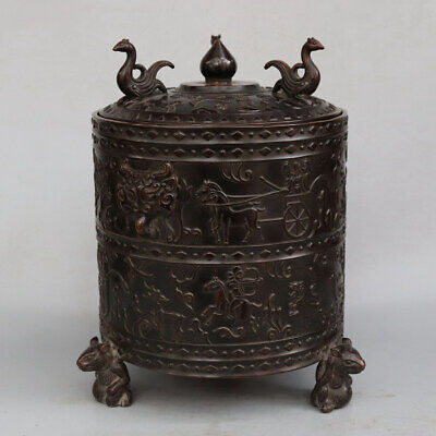 Chinese Exquisite Handmade character beast copper pot