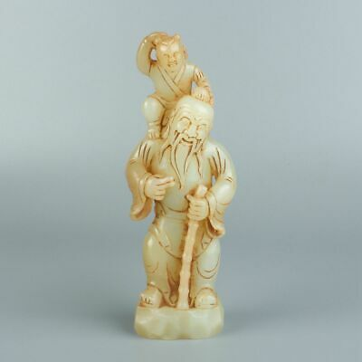 Chinese Exquisite Hand-carved Old man child carving Hetian jade statue