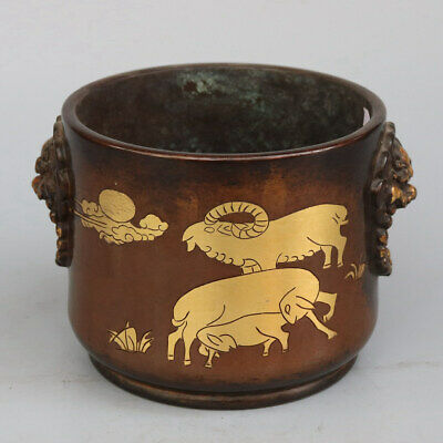 Chinese Exquisite Handmade goat copper Gilt pot
