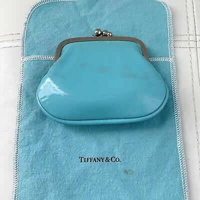 NEW Tiffany & Co Silver Patent Blue Leather Kiss Lock Coin Purse POUCH