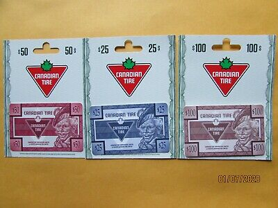 Canadian Tire Money Gift Cards $25 $50 $100 No Value