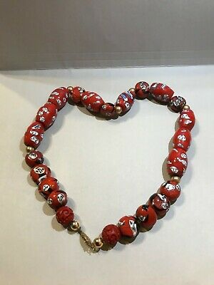 ❤️ Rare!!! Antique Vintage Chinese Cinnabar Beads Huge And Heavy Necklace 18 ❤️