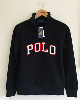 Polo Ralph Lauren Boys Fleece 1/4 Zip Top Black Size L 14-16 Yrs Genuine New