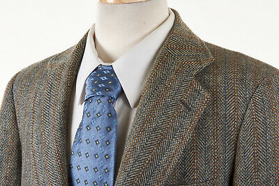 Vintage J PRESS Sport Coat 40 R in Smoke Gray Wool Tweed Blue Rust Fancy Stripes
