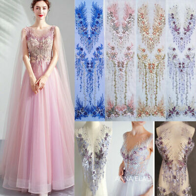 3D Lace Flower Embroidery Bridal Applique pearl DIY Tulle  Wedding Bride Dress