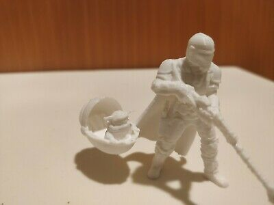 The Mandalorian With Floating Baby Yoda  The Child 3D Printed Figure White
