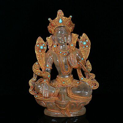 Chinese Exquisite Handmade Crystal Guanyin Statue