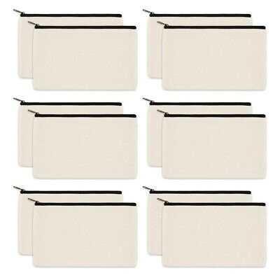 12 Pack Canvas Zipper Bags, Blank DIY Craft Pouches for Travel Cosmetic Mak X3P5