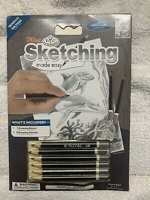 New Royal & Langnickel Mini Sketching Made Easy Dolphins 8 Pieces
