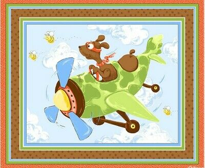 Susybee Zig The Flying Ace Quilt Panel/Playmat * Puppy Pilot * Free Post *