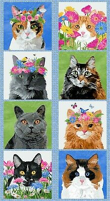 Meow Meadow Quilt Panel * Flowers Crowns & Whiskers * Free Post * 🐈