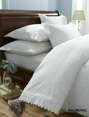 Balmoral Broderie Anglaise Lace Trim Duvet Quilt Cover Bed Set, silver