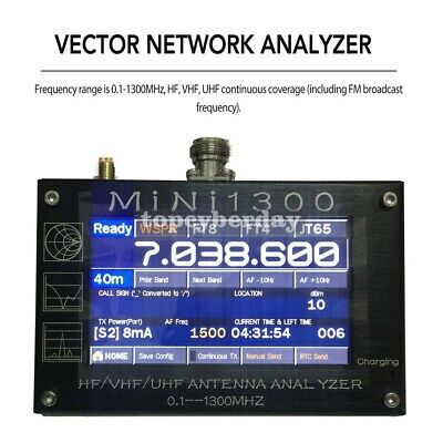 """Touch Control Antenna Analyzer 0.1-1300MHz 4.3"""" TFT LCD Display Aluminum Alloy"""