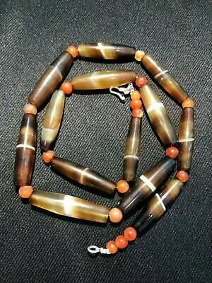 A beautiful Pre Ankor banded agate  beads necklace from Combodia