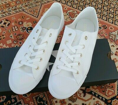 Converse All Star Dainty Low Top White Gold Eyelets UK Size 7 - New With Box