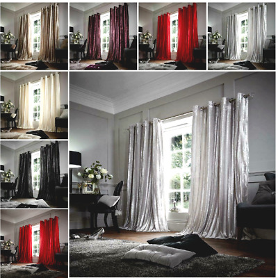 Luxury Stripe Shiny Curtains Ready Made Eyelet Top Fully Lined Faux Fur Curtains