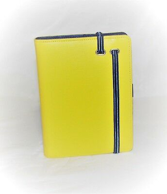 Cover for Agenda Genuine Leather Saffiano Blue Yellow with Elastic