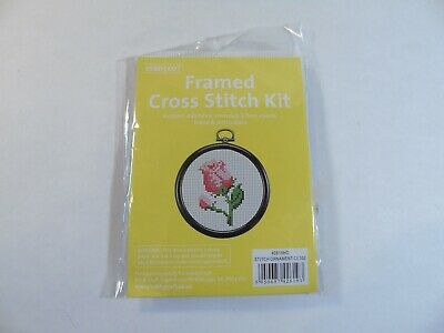 Framed Cross Stitch Kit - Red/Pink Rose - Hobbycraft
