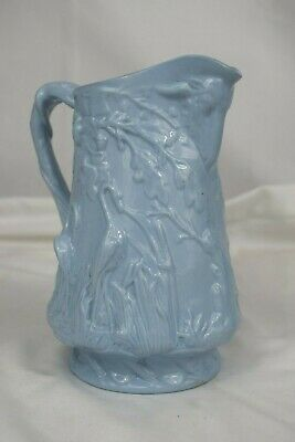 Blue Ceramic Jug/Pitcher, Marked 'X' European/possibly French 1845-1880 VGC
