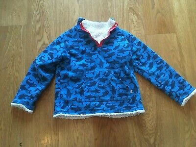 Frugi 6-7 116-122 Sharks Blue Ocean Reversibe Fleece Jumper Organic Cotton