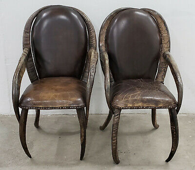Pair of Mid 20th Century Water Buffalo Horn and Leather Arm Chairs