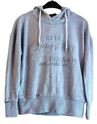 Unisex 'Super Dry' Hooded Sweat Top Embossed Logo Grey 13-16 years, Size XS
