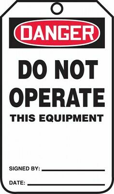 Accuform Bag of Tags:OSHA Danger Safety Tag,Do Not Operate This Equipment,MDT170