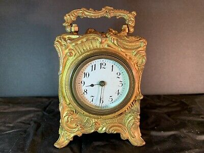Antique Ornate Brass Carriage Clock