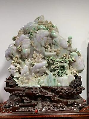 Chinese Exquisite Hand-carved landscape people carving Jadeite jade statue