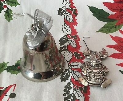 Pair of Vintage Silver Plated Christmas Tree Ornaments Gorham Reindeer & Bell