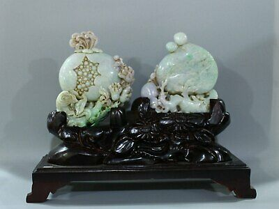 Chinese Exquisite Hand carved Jadeite jade statue 2pcs